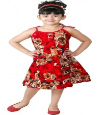 FTC Bazar A- Line Dress For Girls  (Red)