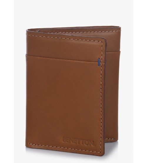 United Colors of Benetton Tan Leather Triple Fold Wallet