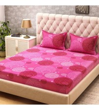 Bombay Dyeing Cotton Printed Double Bedsheet  (1 Double Bedsheet, 2 Pillow Covers, Pink)