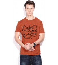 Lee Printed Men's Round Neck Orange T-Shirt