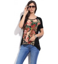 Lee Printed Women's Round Neck Black T-Shirt